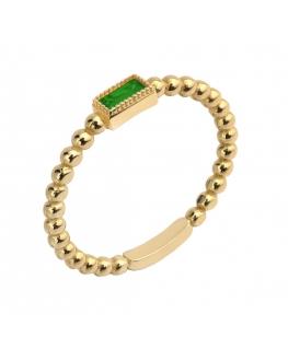 Pierścionek złoty z zielonym kamieniem