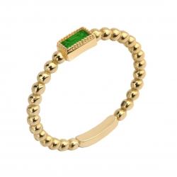 Pierścionek Złoty Z Zielonym Oczkiem