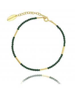 Bransoletka srebrna pozłacana z zielonymi kamieniami