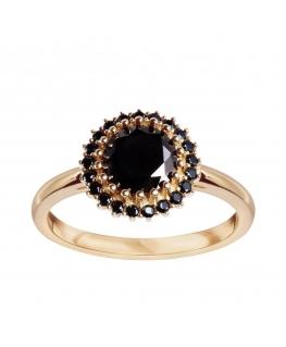 Pierścionek złoty z czarnymi cyrkoniami