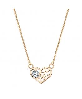 Naszyjnik złoty azurowe serce